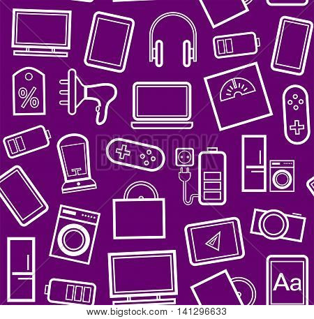 Gadgets and consumer electronics, purple background, seamless, linear pattern. Vector purple background with white contour drawings of gadgets and appliances.