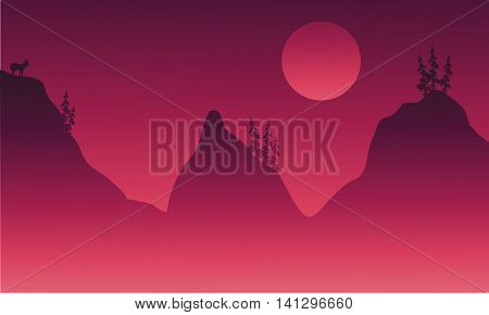 Scenery hills and animal in fog stock vector