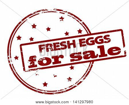 Rubber stamp with text fresh eggs for sale inside vector illustration