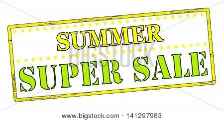 Rubber stamp with text summer super sale inside vector illustration