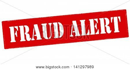 Rubber stamp with text fraud alert inside vector illustration