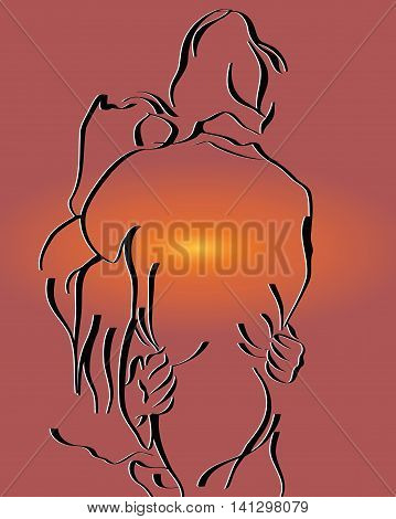 sketch of a young man embraces the girl on the sunset sky background