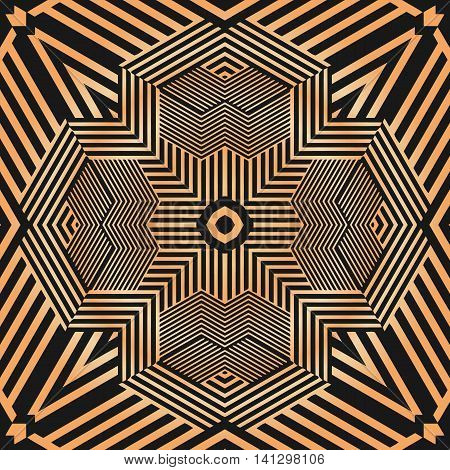 Decorative gold metal background Abstract geometric modern texture pattern illusion of the lines in the form of a symmetrical convex rhombus in a square