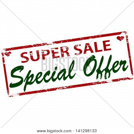Rubber stamp with text super sale special offer inside vector illustration