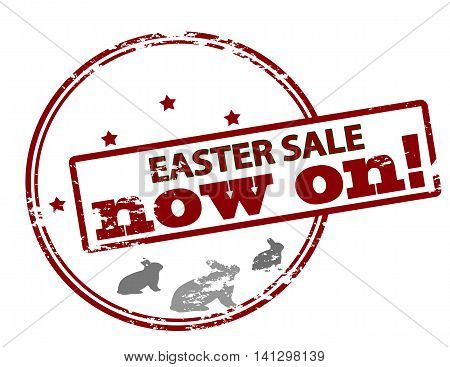 Rubber stamp with text Easter sale now on inside vector illustration