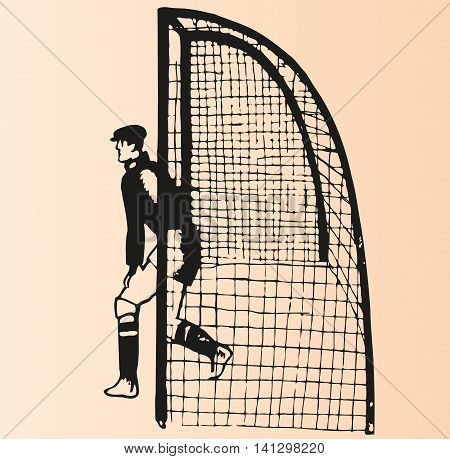 Sketch goalkeeper footballer wearing a cap on his head standing at the gate