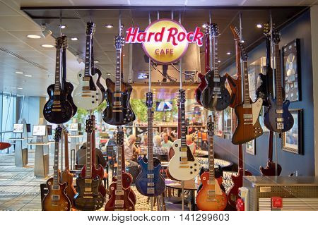 SINGAPORE - CIRCA NOVEMBER, 2015: Hard Rock Cafe in Singapore Changi Airport. Changi Airport  is the primary civilian airport for Singapore and one of the largest transportation hubs in Southeast Asia
