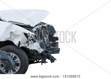 White car accident front side on white background