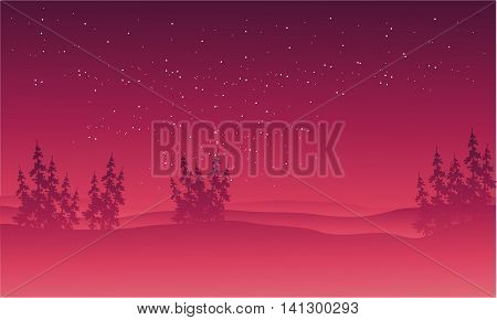 On red backgrounds hills scenery illustration at night