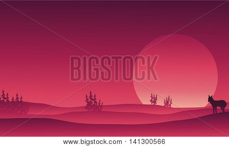 Silhouette of wolf in hills scenery vector illustration