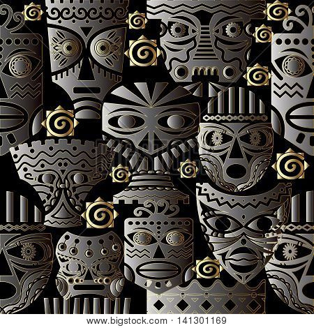 Vector seamless pattern with african masks on the black background. Stylish and modern african decor can be used for textile, prints,web page background.