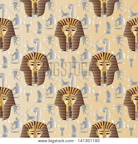 Vector seamless pattern with silver Egyptian hieroglyphs, symbols and golden mask of Pharaoh on the papyrus. Antique ornate decor for textile, web page background. Endless texture.