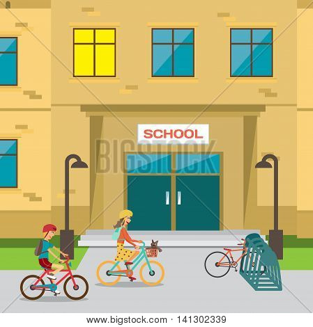 Children's bicycle parking near the school. Boy and girl going to lessons. Vector flat cartoon illustration