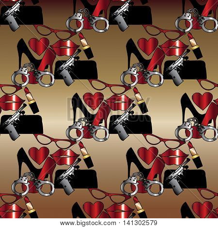 Funny seamless pattern with women shoes, clutch, red lipstick, glasses, love heart, gun and handcuffs.