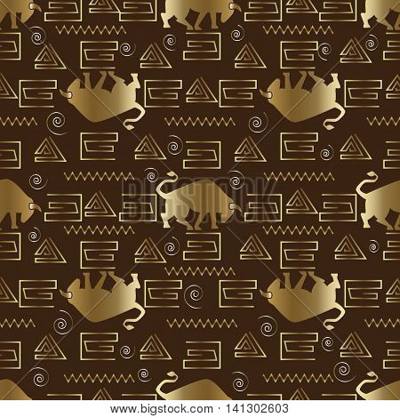 Modern and stylish seamless pattern with bull. Gold bull is on the brown background. (Can be scaled to any size)