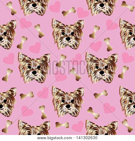 Funny vector seamless pattern with a little beautiful yorkshire terrier. On the pink background are nice puppy, bones and love hearts. Can be used for  textile, page background.