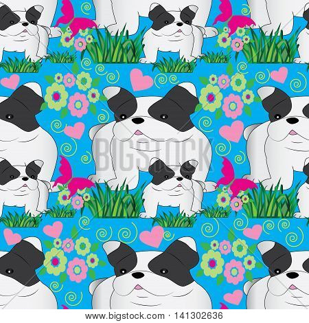Vector seamless pattern with funny dogs, green grass, butterfly, flowers on the blue background. Dogs funny pattern can be used for textile, background. Endless texture.