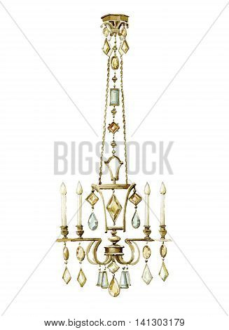 Bronze chandelier with colored crystal pendants. Watercolor illustration