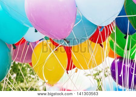 Balloons party. Funny symbolic objects. Colorful balloons background. Retro objects. Leisure activity. Vibrant colors.