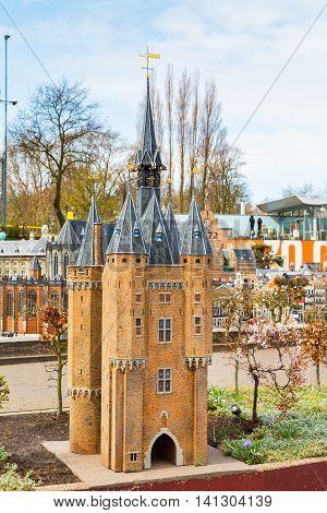 Hague, Netherlands - April 8, 2016: Madurodam, Holland miniature park and tourist attraction in Hague, Netherlands