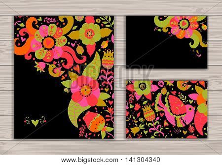 Wedding card set with abstract background with contour drawing of flowers and birds. Place for text. Easy to edit