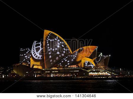 SYDNEY, AUSTRALIA - June 11, 2016: Sydney Opera House during Vivid Sydney festival. Vivid Sydney is an outdoor annual cultural event featuring immersive light installations and projections.