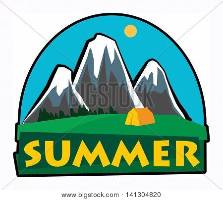 Mountain summer adventure sign or label, vector illustration