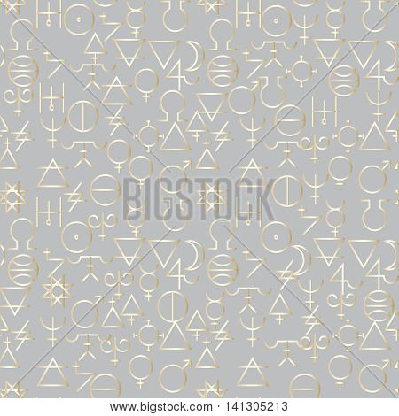 Vector light seamless pattern background with magic alchemy symbols. Elegant royal decor with 3d elements for textile, web page backgrounds. Endless texture.Paper cut.