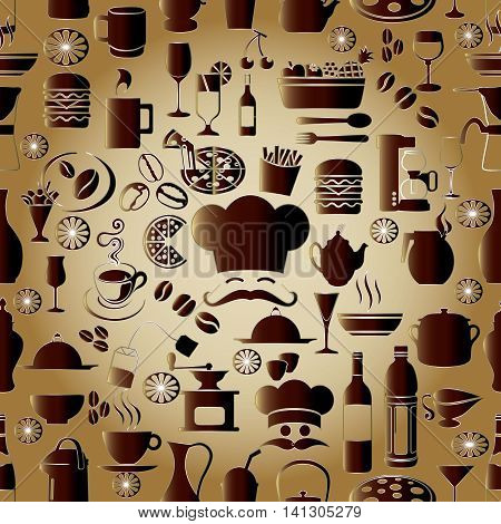 Elegant modern vector seamless pattern background  with volumetric cafe restaurant cook symbols, signs and icons. Stylish luxury 3d elements with shadows and highlights. Endless texture.