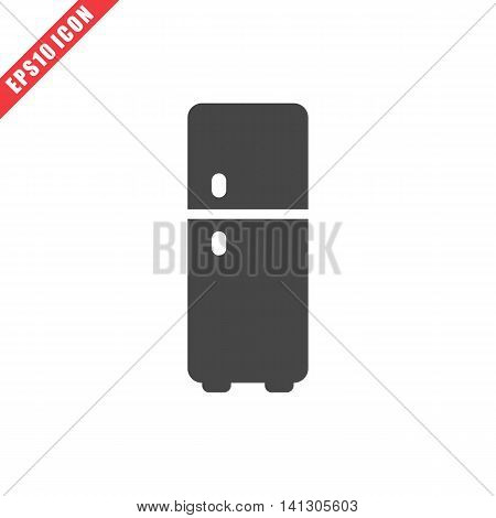 Vector illustration of refrigerator icon on white background. Simple black kitchenware image