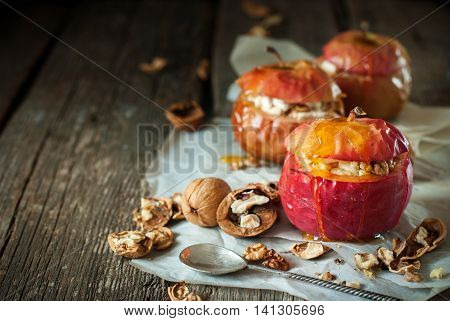 Baked Apples Stuffed Walnuts Honey Healthy Food