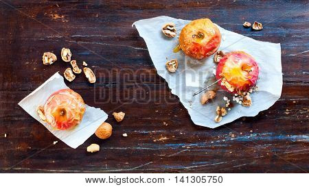Baked Apples Healthy Food Top View Wooden Table