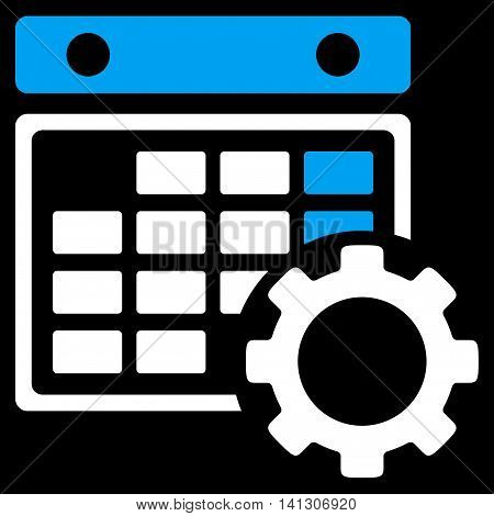 Plan Setup vector icon. Style is bicolor flat symbol, blue and white colors, rounded angles, black background.