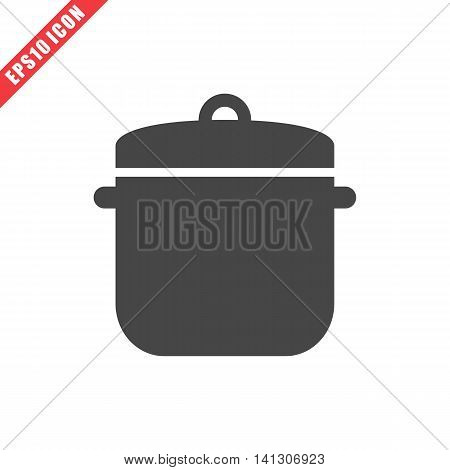 Vector illustration of saucepan icon on white background. Simple black kitchenware image