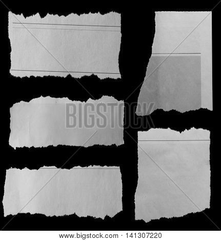Pieces of torn paper on black