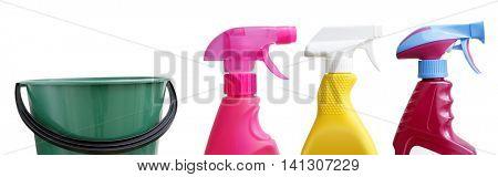 Three spray bottles and bucket
