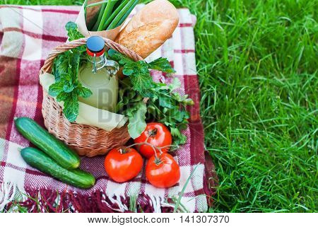 Basket Rustic Raw Fresh Food On Green Grass Plaid