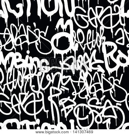 Background seamless pattern. Graffiti tagging handstyle. Contrast monochrome black and white colors