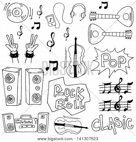 Doodle of hand draw music set collection stock