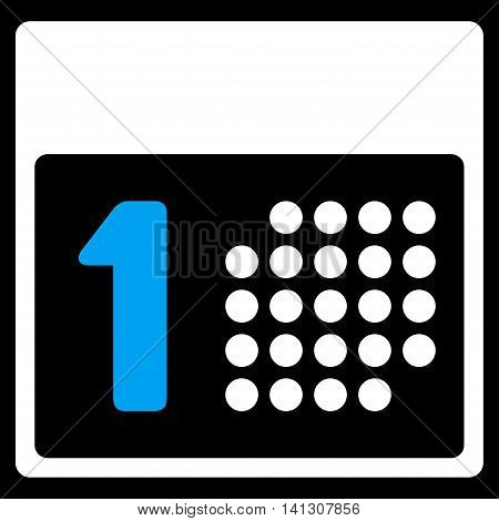First Day vector icon. Style is bicolor flat symbol, blue and white colors, rounded angles, black background.