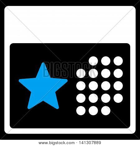 Holiday Binder vector icon. Style is bicolor flat symbol, blue and white colors, rounded angles, black background.