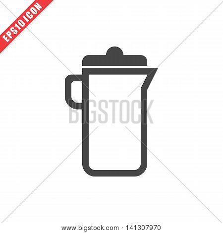 Vector illustration of carafe icon on white background. Simple black kitchenware image
