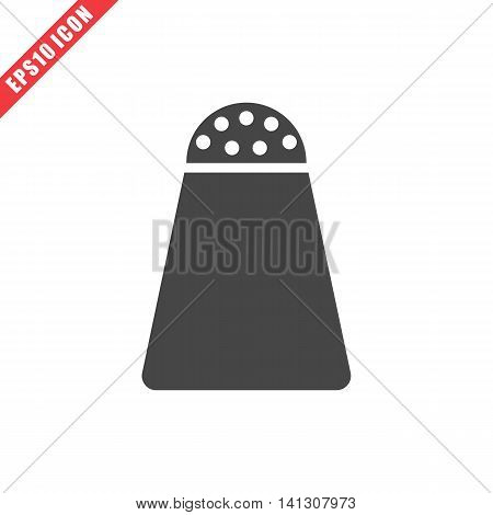 Vector illustration of salt icon on white background. Simple black kitchenware image