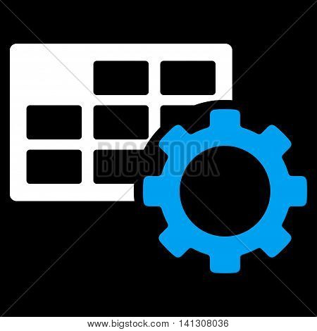Schedule Adjustment vector icon. Style is bicolor flat symbol, blue and white colors, rounded angles, black background.