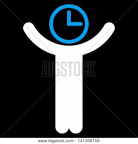Time Manager vector icon. Style is bicolor flat symbol, blue and white colors, rounded angles, black background.