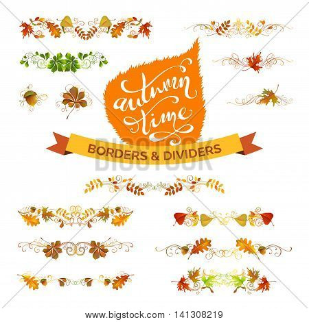 Vector Set Of Autumn Leaves Design Elements.