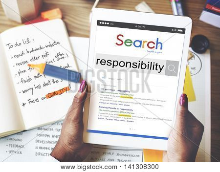 Responsibility Responsible Reliability Task Trust Job Concept