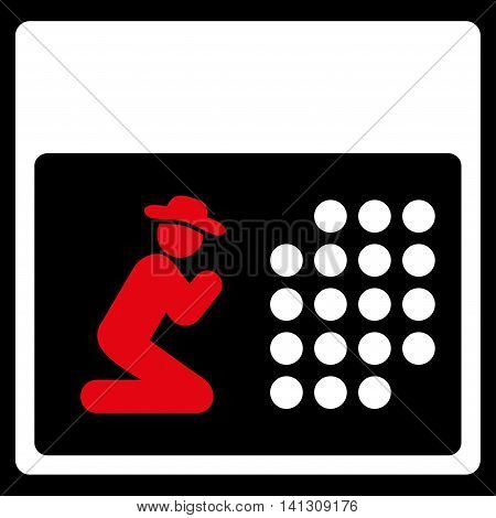 Pray Binder vector icon. Style is bicolor flat symbol, red and white colors, rounded angles, black background.