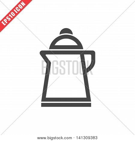 Vector illustration of kettle icon on white background. Simple black kitchenware image