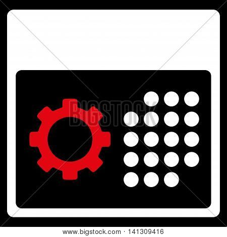 Service Organizer vector icon. Style is bicolor flat symbol, red and white colors, rounded angles, black background.